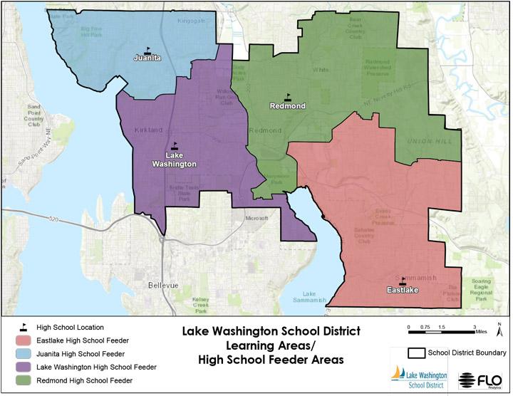 A map of Lake Washington School District