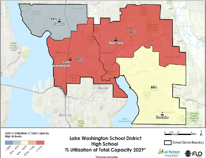 A chart showing reduced capacity of school district